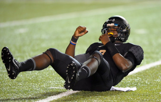 Aug 28, 2014; Nashville, TN, USA; Vanderbilt Commodores quarterback Johnny McCrary (2) reacts after throwing an interception during the second half ag...