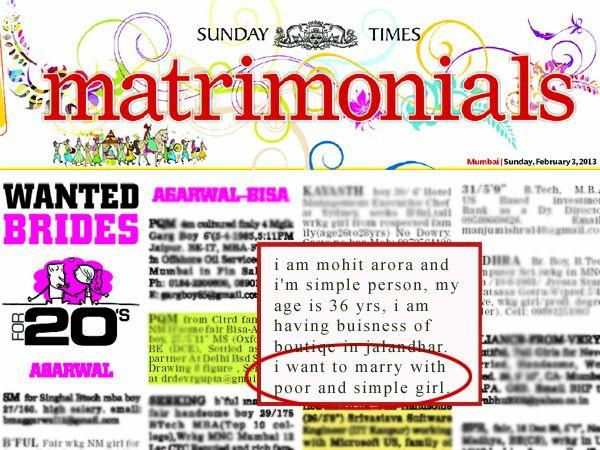 Images via : iDiva.com Come on guys! Maybe he doesn't want to marry someone for her 'riches' :P Related Articles - Mandeep Kaur on Why Matrimonial Websites are Worth a Chance Yay! Matrimon