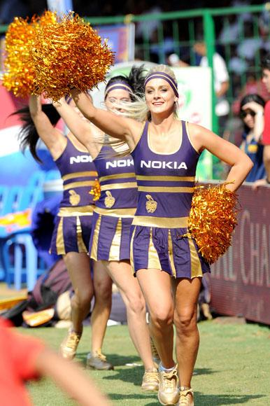 Kolkata Knight Rider`s cheerleaders at M Chinnaswamy Stadium Bangalore during the IPL match between Kolkata Knight Riders and Royal Challengers Bangalore on April 11, 2013. (Photo: IANS)