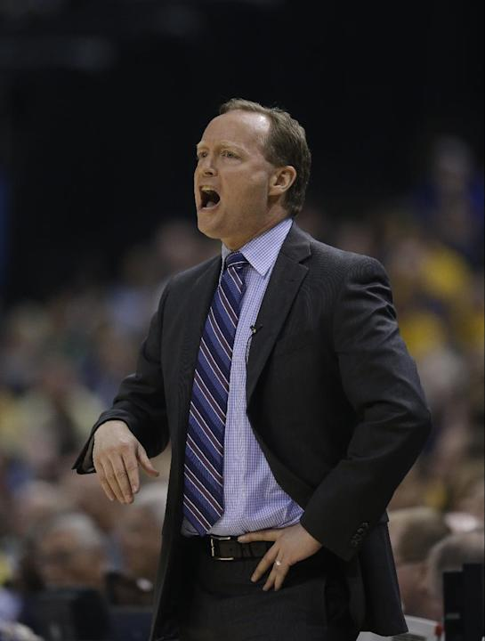 Atlanta Hawks head coach Mike Budenholzer in action during the first half in Game 2 of an opening-round NBA basketball playoff series against the Indiana Pacers Tuesday, April 22, 2014, in Indianapoli