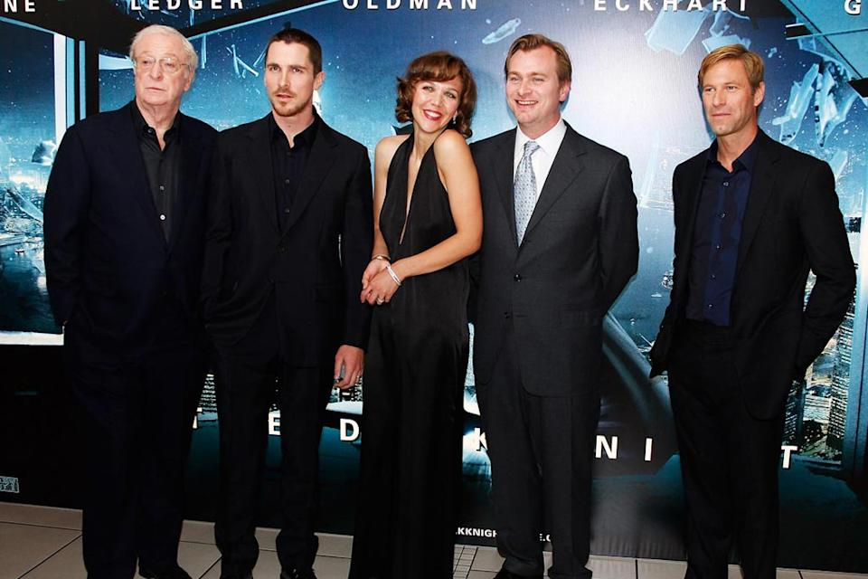The Dark Knight UK Premiere 2008 Michael Caine Christian Bale Maggie Gyllenhaal Christopher Nolan Aaron Eckhart