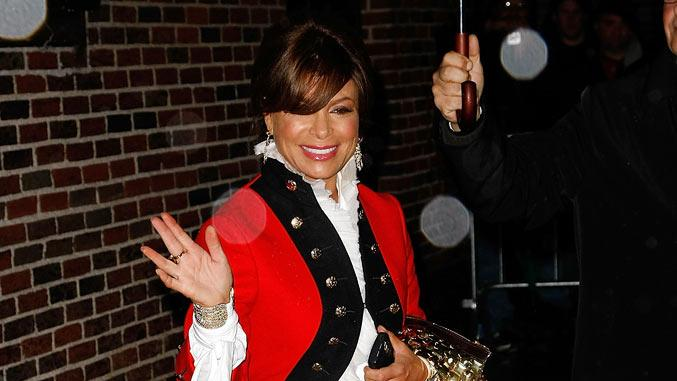 "Paula Abdul visits ""Late Show with David Letterman"" at the Ed Sullivan Theater on December 10, 2008 in New York City."