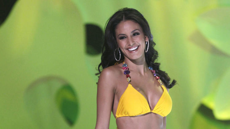 Miss Costa Rica Johanna Solano competes in the Miss Universe pageant in Sao Paulo, Brazil, Monday, Sept. 12, 2011. Solano was a top ten finalist. (AP Photo/Andre Penner)