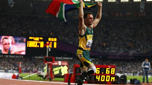 Oscar Pistorius of South Africa celebrates winning the Men's 400m T44 Final during the London 2012 Paralympic Games at the Olympic Stadium in London (Reuters)