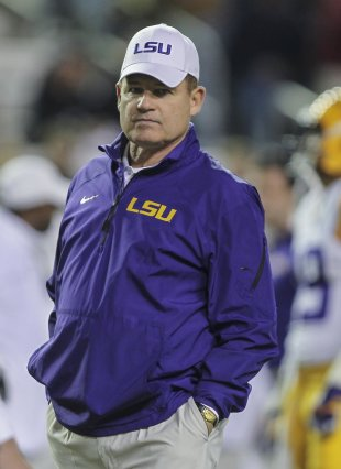 Nov 27, 2014; College Station, TX, USA; LSU Tigers head coach Les Miles before a game against the Texas A&M Aggies at Kyle Field. (Troy Taormina-USA TODAY Sports)