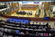 The Extraordinary Chamber in the Courts of Cambodia is shown during a hearing on former Khmer Rouge leader ex-social affairs minister Ieng Thirith's in Phnom Penh on August 30, 2012