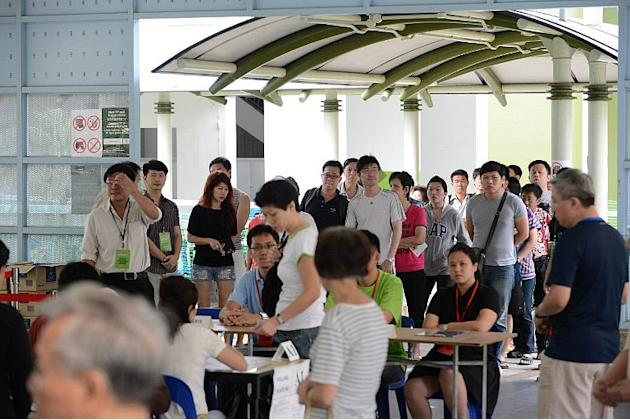 Punggol East residents were already in queue before polling stations opened at 8am.