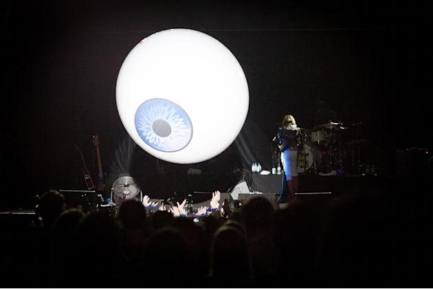 Freaky eye balloon bounces off the crowd during the YYY set. Big Night Out 2013 (Photo by Niña Sandejas)