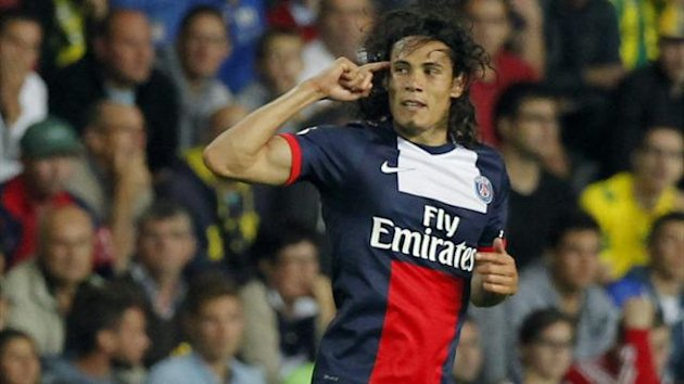 Paris Saint-Germain's Edinson Cavani celebrates after scoring during his French Ligue 1 match against FC Nantes (Reuters)
