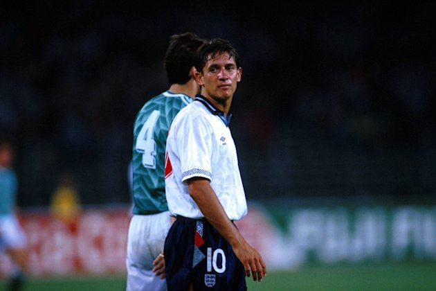 Gary Lineker in action in the 1990 World Cup semi-final against West Germany