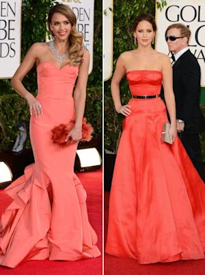 Jessica Alba/Jennifer Lawrence - 2013 Golden Globes -- Getty Images