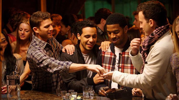 "Bryan Greenberg, Victor Rasuk, Scott ""Kid Cudi"" Mescudi, and Eddie Kaye Thomas in ""How To Make It In America."""