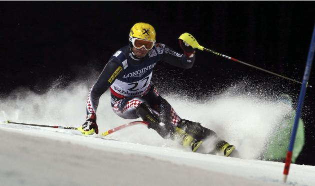 Croatia's Ivica Kostelic competes in the slalom portion of the men's super-combined, at the Alpine skiing world championships in Schladming, Austria, Monday, Feb.11, 2013. (AP Photo/Alessandro Trovati