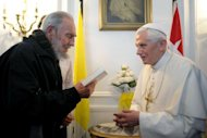 This handout picture released by the Vatican Press Office shows Pope Benedict XVI with Fidel Castro (L) during a meeting in Havana. Pope Benedict XVI met with Cuba's revolutionary icon Fidel Castro Wednesday, the last day of a trip to bolster the Roman Catholic church's relationship with the Communist government