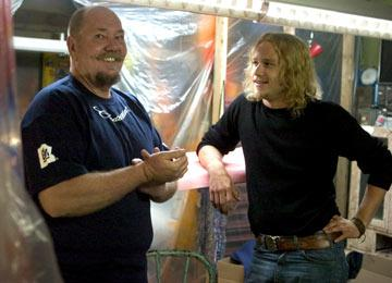 The real Skip Engblom and Heath Ledger on the set of Columbia Pictures' Lords of Dogtown
