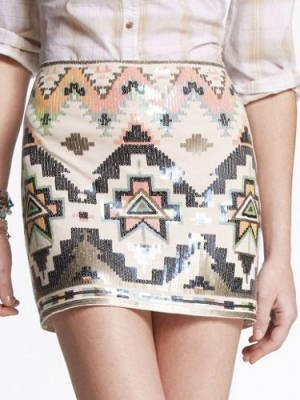 Express Sequin Embellished Mini Skirt