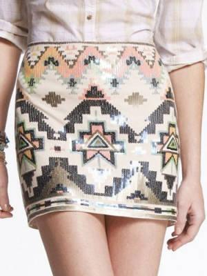 Express Sequin Embellished Mini Skirt