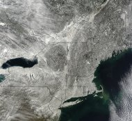 NASA's Terra satellite snapped this image of snow blanketing the Northeast on Feb. 10, 2013.