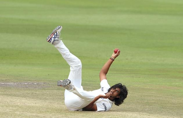 India's Sharma falls over as he tries to field the ball during the final day of their test cricket match against South Africa in Johannesburg
