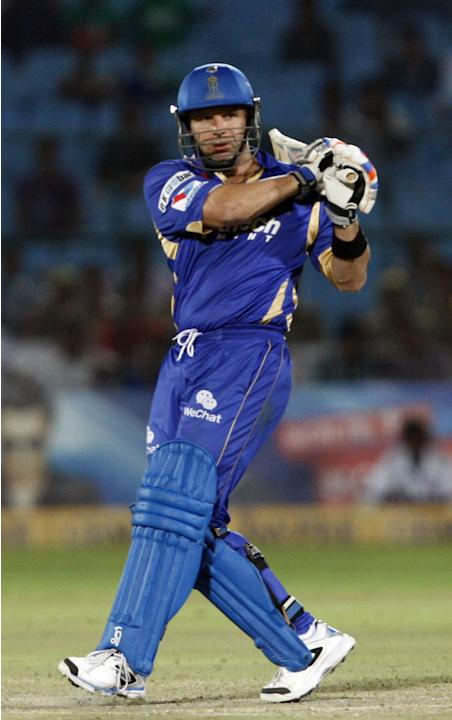 Rajasthan Royals batsman Brad Hodge in action during CLT20 match between Rajasthan Royals and Otago Volts at Sawai Mansingh Stadium in Jaipur on Oct. 1, 2013. (Photo: IANS)
