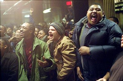 DJ Iz ( De'Angelo Wilson ), Cheddar Bob ( Evan Jones ) and Sol ( Omar Benson Miller ) in Universal's 8 Mile