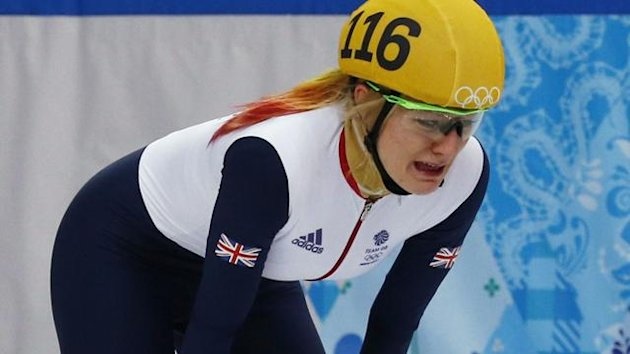 Britain's Elise Christie in tears at Sochi