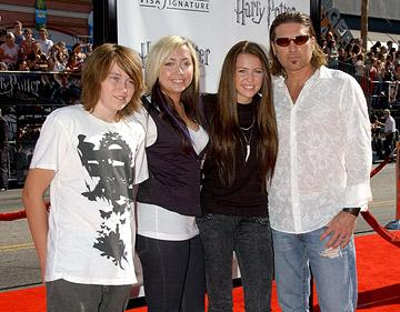 Miley Cyrus , Billy Ray Cyrus and family at the Hollywood premiere of Warner Brothers' Harry Potter and the Order of the Phoenix
