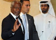 UN-Arab League envoy Kofi Annan (left) arrives for an Arab ministerial committee meeting in Doha. Arab leaders called for UN action on Saturday as at least 38 people were killed in Syria amid growing concern that Annan's peace plan is failing and the country is descending into all-out civil war