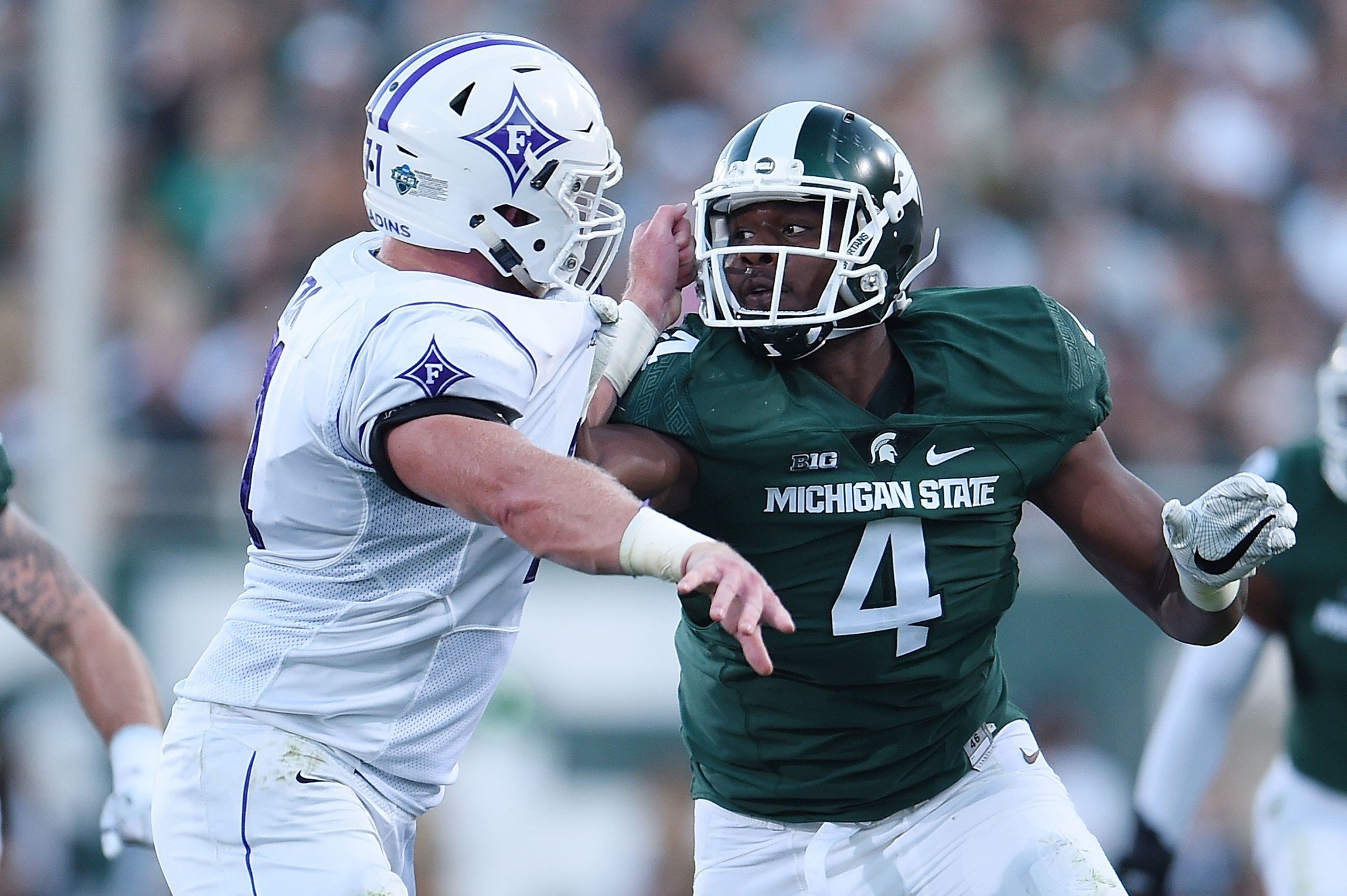 Malik McDowell had seven tackles for loss in nine games. (Getty)