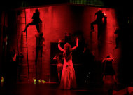 "In this image released by The O+M Company, actress Molly Ranson stars in the title role of the reimagined musical based on Stephen King's novel ""Carrie,"" performing at the Lucille Lortel Theatre in New York. (AP Photo/The O+M Company, Joan Marcus)"