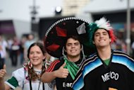 Mexico supporters arrive at the Olympic Park prior the opening ceremony of the London 2012 Olympic Games