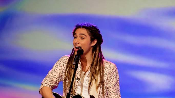 Jason Castro performs as one of the top 24 contestants on the 7th season of American Idol.