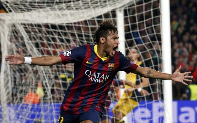 Barcelona's Neymar celebrates after scoring a goal against Atletico ...