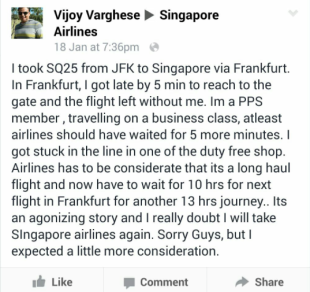 A screenshot of Mr. Varghese's post on SIA's Facebook page.