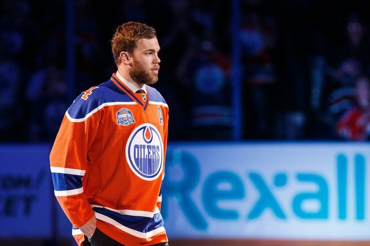 EDMONTON, AB - APRIL 6: Oilers forward Taylor Hall is introduced during the closing ceremonies at Rexall Place following the game between the Edmonton Oilers and the Vancouver Canucks on April 6, 2016 at Rexall Place in Edmonton, Alberta, Canada. The game was the final game the Oilers played at Rexall Place before moving to Rogers Place next season. (Photo by Codie McLachlan/Getty Images)