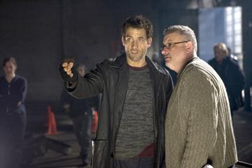 Clive Owen and director Michael Davis on the set of New Line Cinema's Shoot 'Em Up