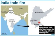 Map of India showing the area in Andhra Pradesh state where a fire broke out on a passenger train early Monday