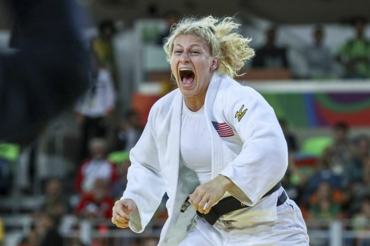 Kayla Harrison of the United States celebrates after defeating Audrey Tcheumeo of France during the women's -78kg gold medal judo contest on Day 6 of the 2016 Rio Olympics at Carioca Arena 2 on August 11, 2016 in Rio de Janeiro, Brazil. (Photo by William Volcov/Brazil Photo Press/LatinContent/Getty Images)