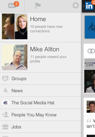 LinkedIn Has a Gorgeous New Mobile App image LinkedIn Menu