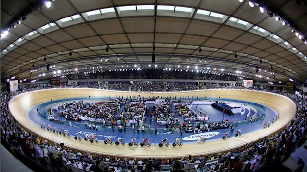 Cyclists compete in the Points Race of the Women's Omnium at the UCI Track Cycling World Cup at the Olympic Velodrome in London