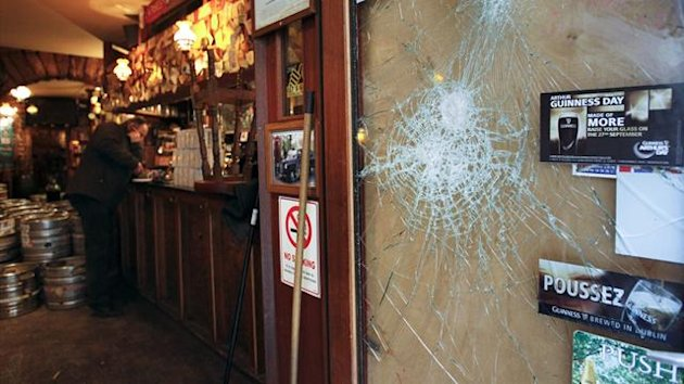 View of the Smoking Dog pub in Lyon February 21, 2013 where Tottenham Hotspur's supporters are said to have been attacked Wednesday evening by far right hooligans (Reuters)