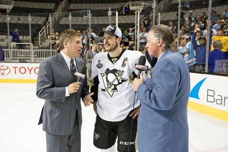 Hockey: NHL Finals: Pittsburgh Penguins Sidney Crosby (87) during interview with ESPN Steve Levy and Barry Melrose on ice after winning series vs San Jose Sharks at SAP Center. Game 6. Media. San Jose, CA 6/12/2016 CREDIT: David E. Klutho (Photo by David E. Klutho /Sports Illustrated/Getty Images) (Set Number: SI11 TK1 )