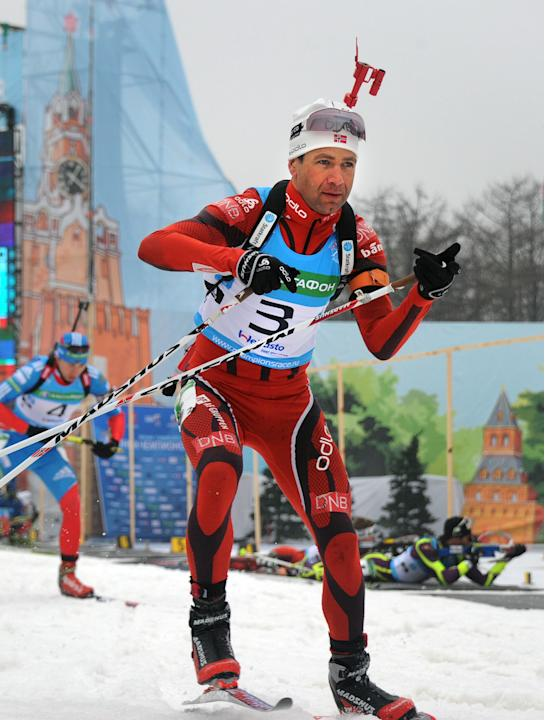 Norway's Ole Einar Bjorndalen skis past during a biathlon Champion's Race in Moscow on April 7, 2012.   AFP PHOTO/ ALEXANDER NEMENOV (Photo credit should read ALEXANDER NEMENOV/AFP/Getty Images)