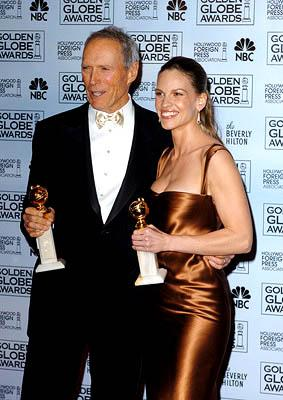 Clint Eastwood and Hilary Swank of Million Dollar Baby Best Director and Actress for a Motion Picture - Drama Golden Globe Awards - 1/16/2005