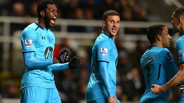 Emmanuel Adebayor of Tottenham Hotspur celebrates scoring the opening goal with team mates (Getty Images)