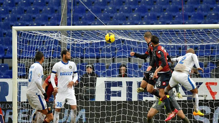 Genoa's Luca Antonelli score during a Serie A soccer match between Genoa and Inter, at Genoa's Luigi Ferraris stadium Italy, Sunday, Jan. 19, 2014