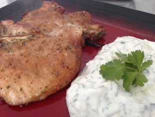 Pork chops and cilantro tzatziki