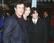 Sylvester Stallone with his girlfriend and his son Sage at the premiere of 'Daylight in Los Angeles in December 1996 -- Getty Premium