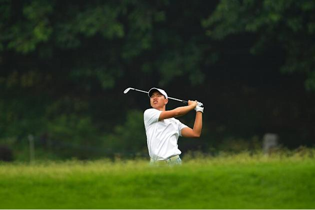 Guan Tianlang during the second round of the Volvo China Open at Genzon Golf Club in Shenzhen on April 25, 2014