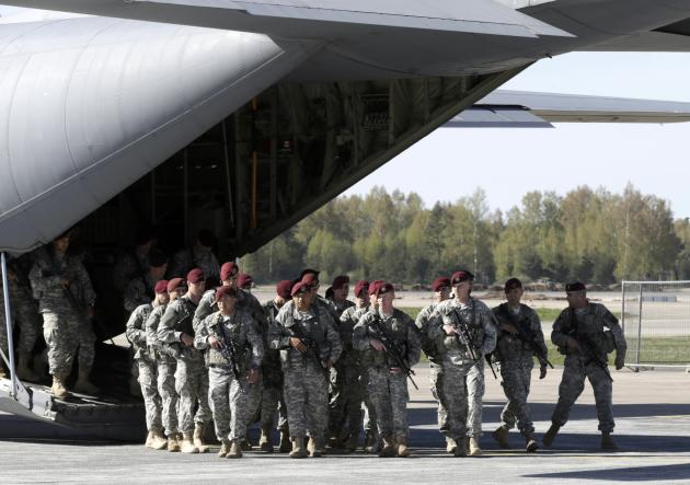 First company-sized contingent of about 150 U.S. paratroopers from the U.S. Army's 173rd Infantry Brigade Combat Team based in Italy arrive in the airport in Riga